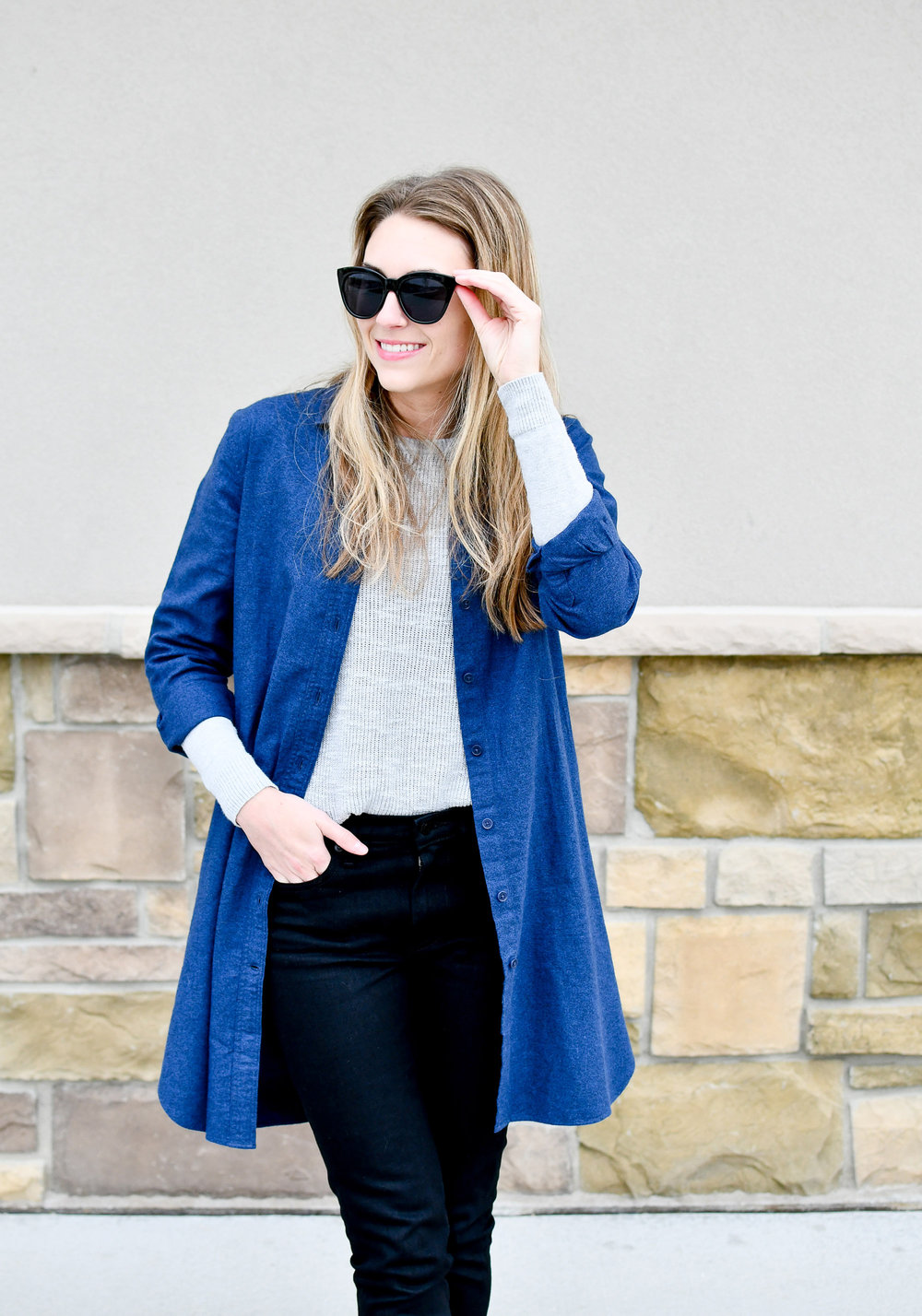 Fall work outfit with duster — Cotton Cashmere Cat Hair