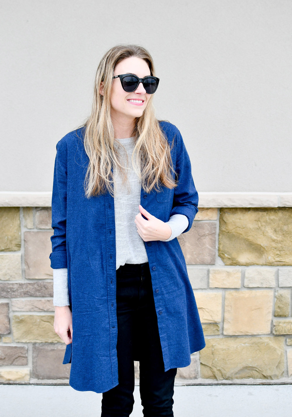 Flannel shirt dress fall outfit  — Cotton Cashmere Cat Hair