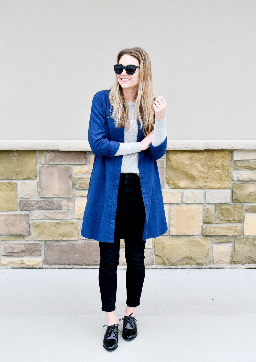 Fall outfit with black skinny jeans and patent oxfords — Cotton Cashmere Cat Hair