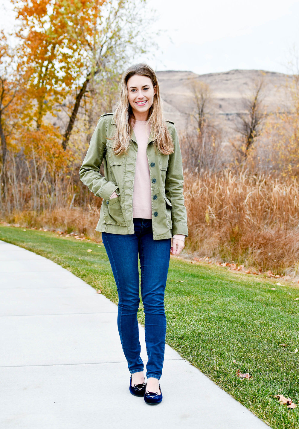 Army green jacket outfit with blush pink sweater — Cotton Cashmere Cat Hair