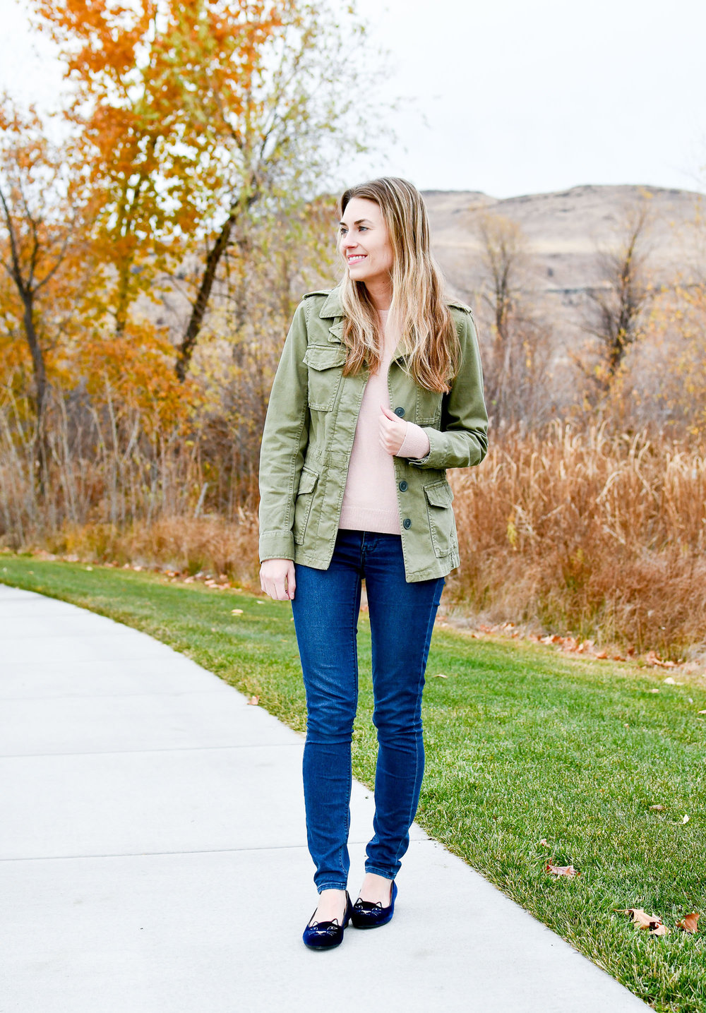 Fall outfit with navy Charlotte Olympia 'Kitty' flats — Cotton Cashmere Cat Hair