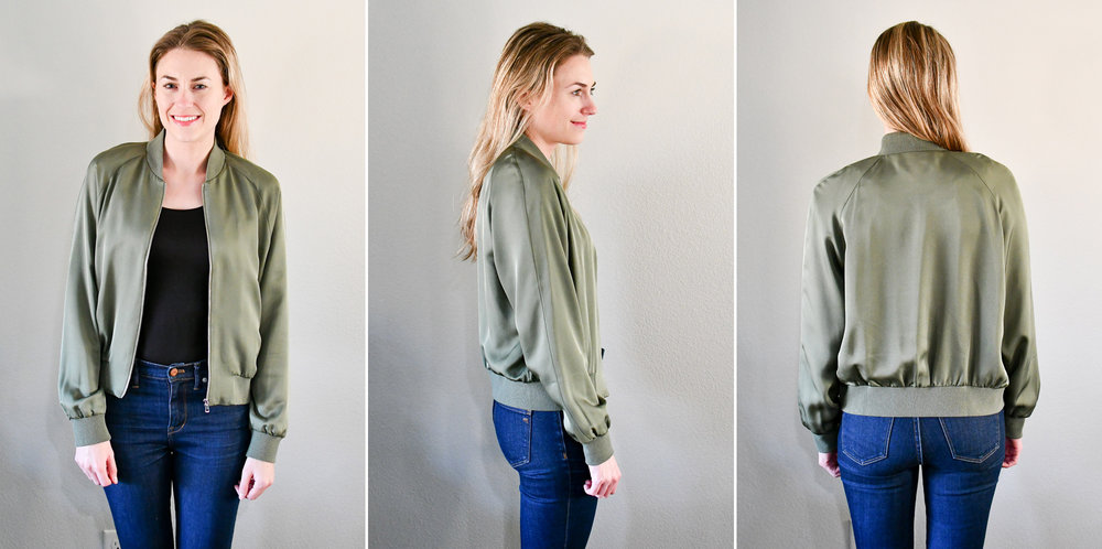 Grana 'Silk Bomber' in soft olive — Cotton Cashmere Cat Hair