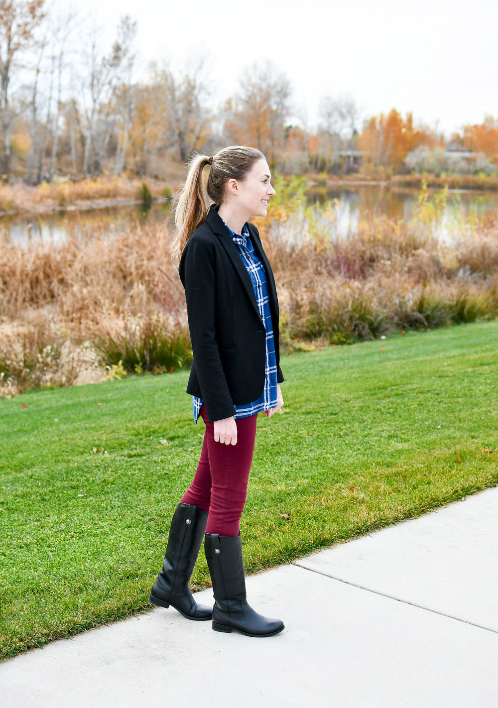 Fall outfit with Frye Melissa Button tall boots — Cotton Cashmere Cat Hair