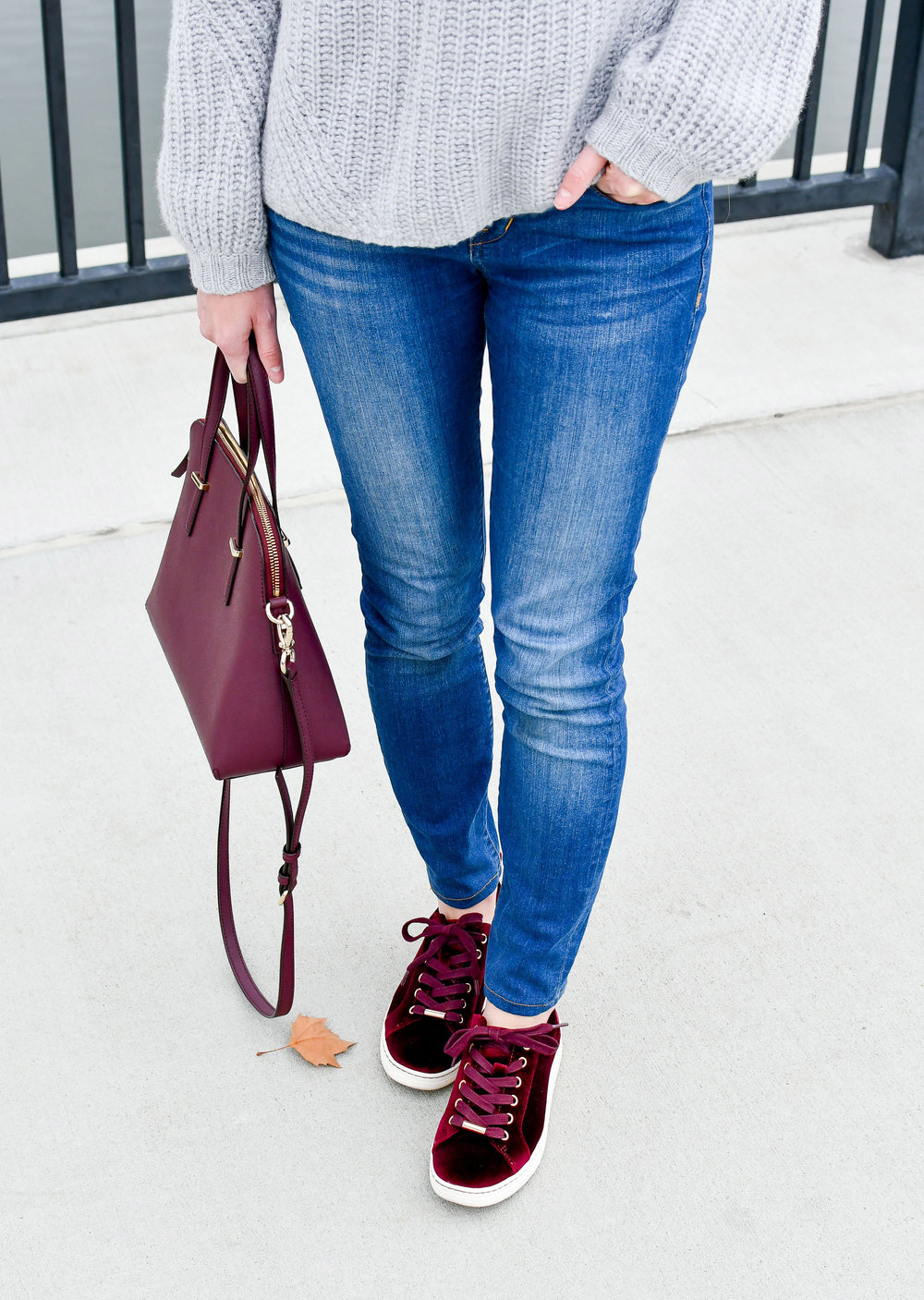 Burgundy velvet Earth Zag sneakers outfit — Cotton Cashmere Cat Hair