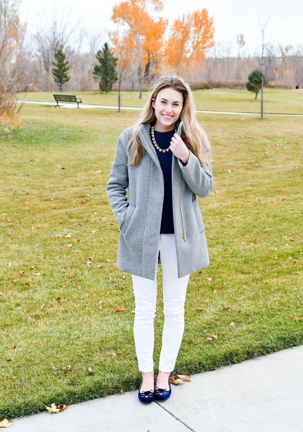 Holiday outfit with statement necklace and kitty flats — Cotton Cashmere Cat Hair