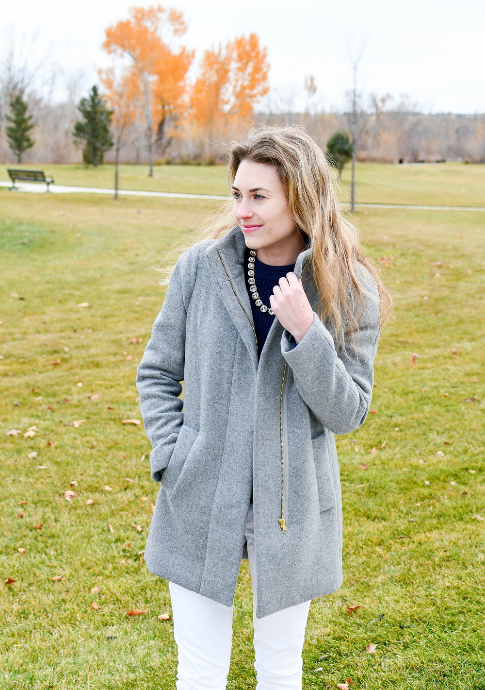 J.Crew Factory City Coat outfit — Cotton Cashmere Cat Hair