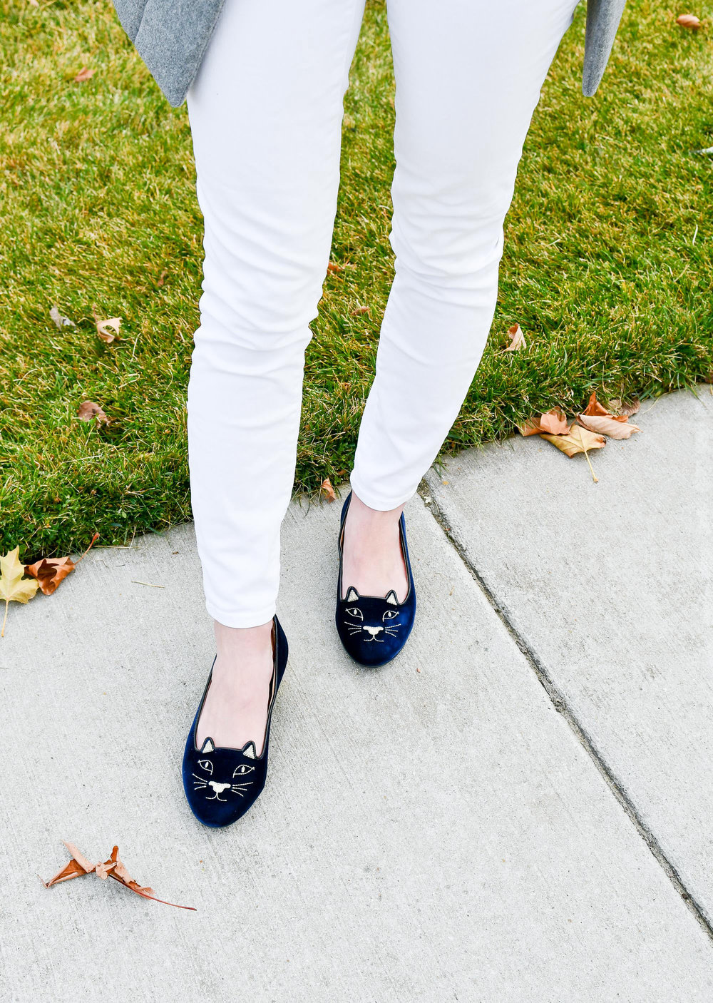 Navy velvet Charlotte Olympia Kitty flats — Cotton Cashmere Cat Hair