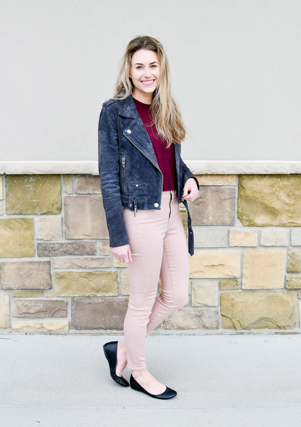 Charcoal grey suede jacket fall outfit — Cotton Cashmere Cat Hair