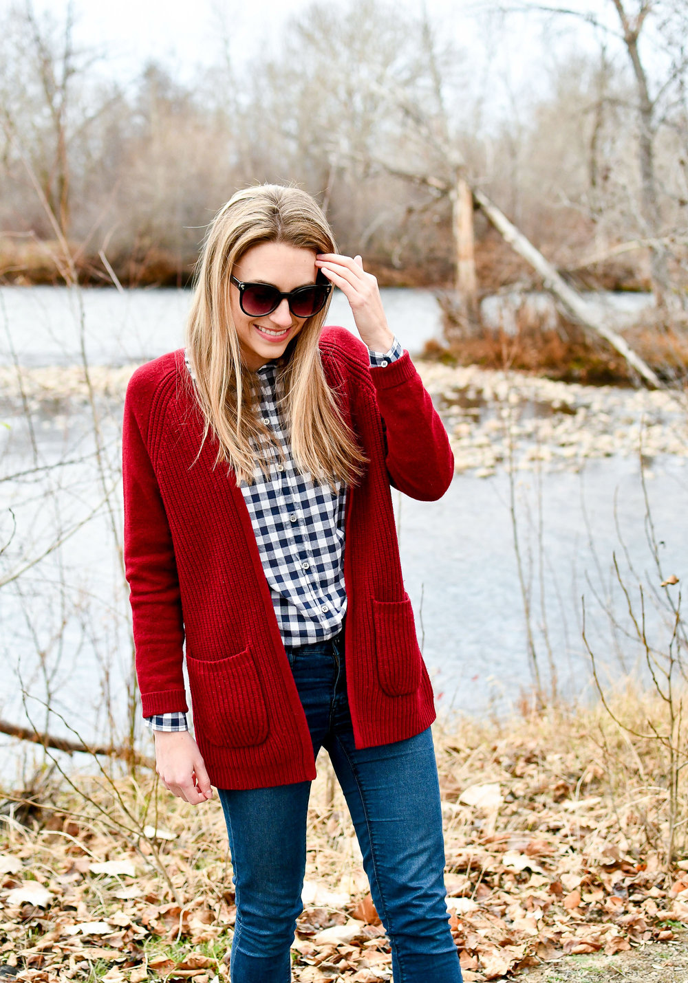 Navy gingham shirt fall outfit — Cotton Cashmere Cat Hair