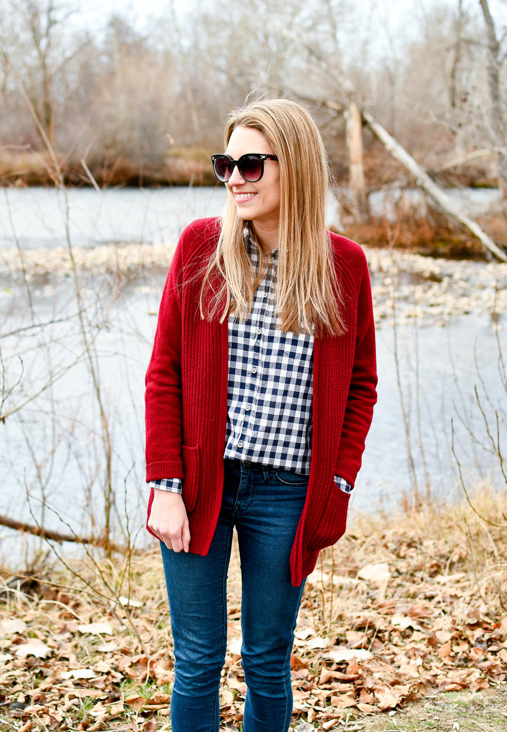 Navy gingham and burgundy cardigan fall outfit — Cotton Cashmere Cat Hair