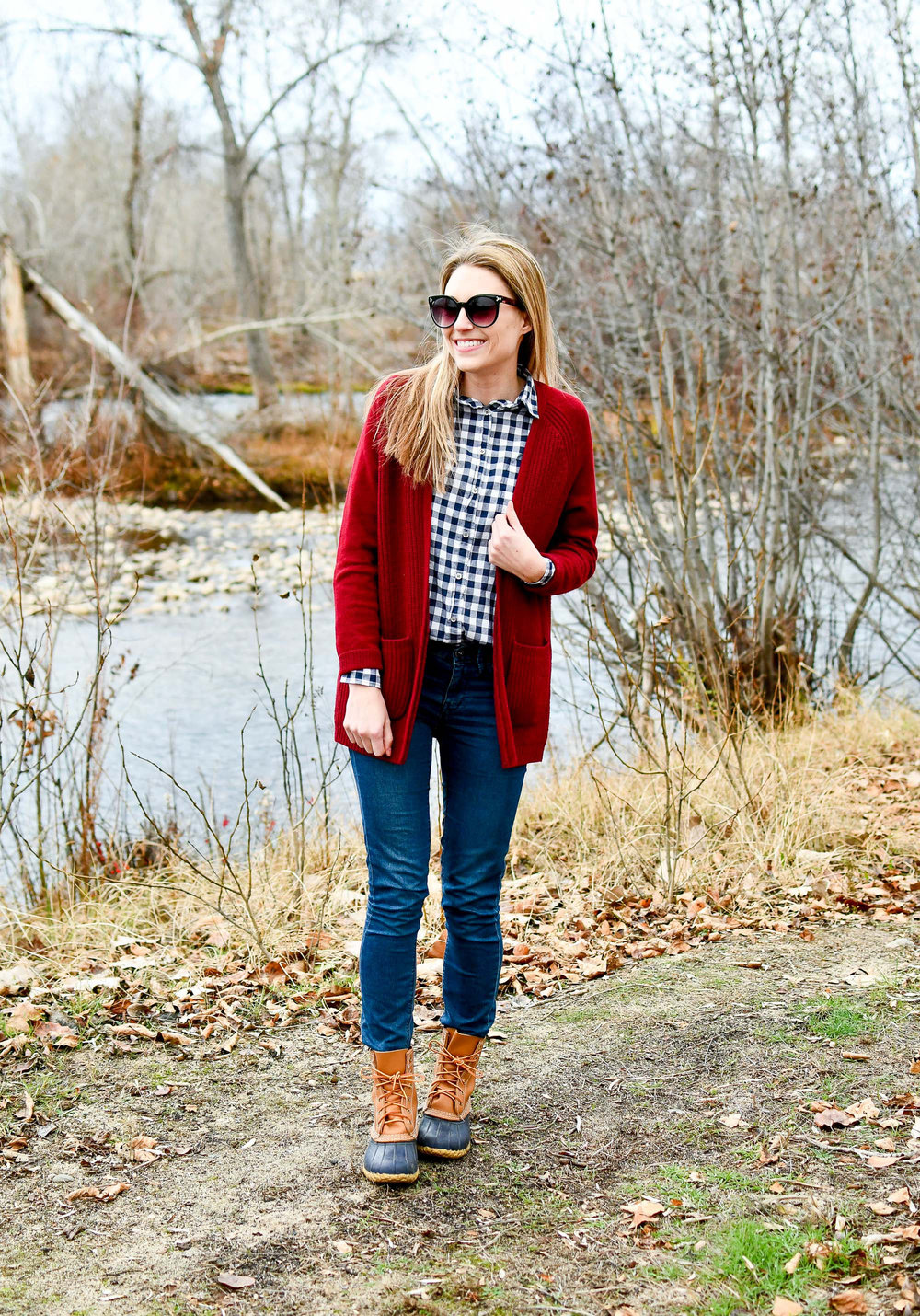 Fall outfit with L.L.Bean boots and gingham shirt — Cotton Cashmere Cat Hair