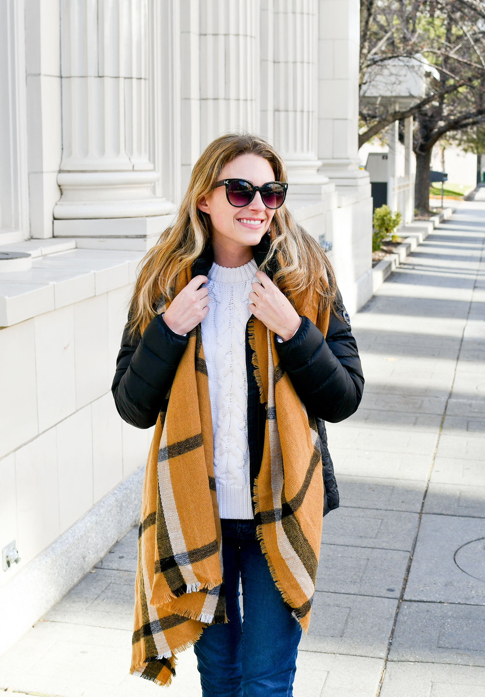 Packable puffer coat with blanket scarf — Cotton Cashmere Cat Hair