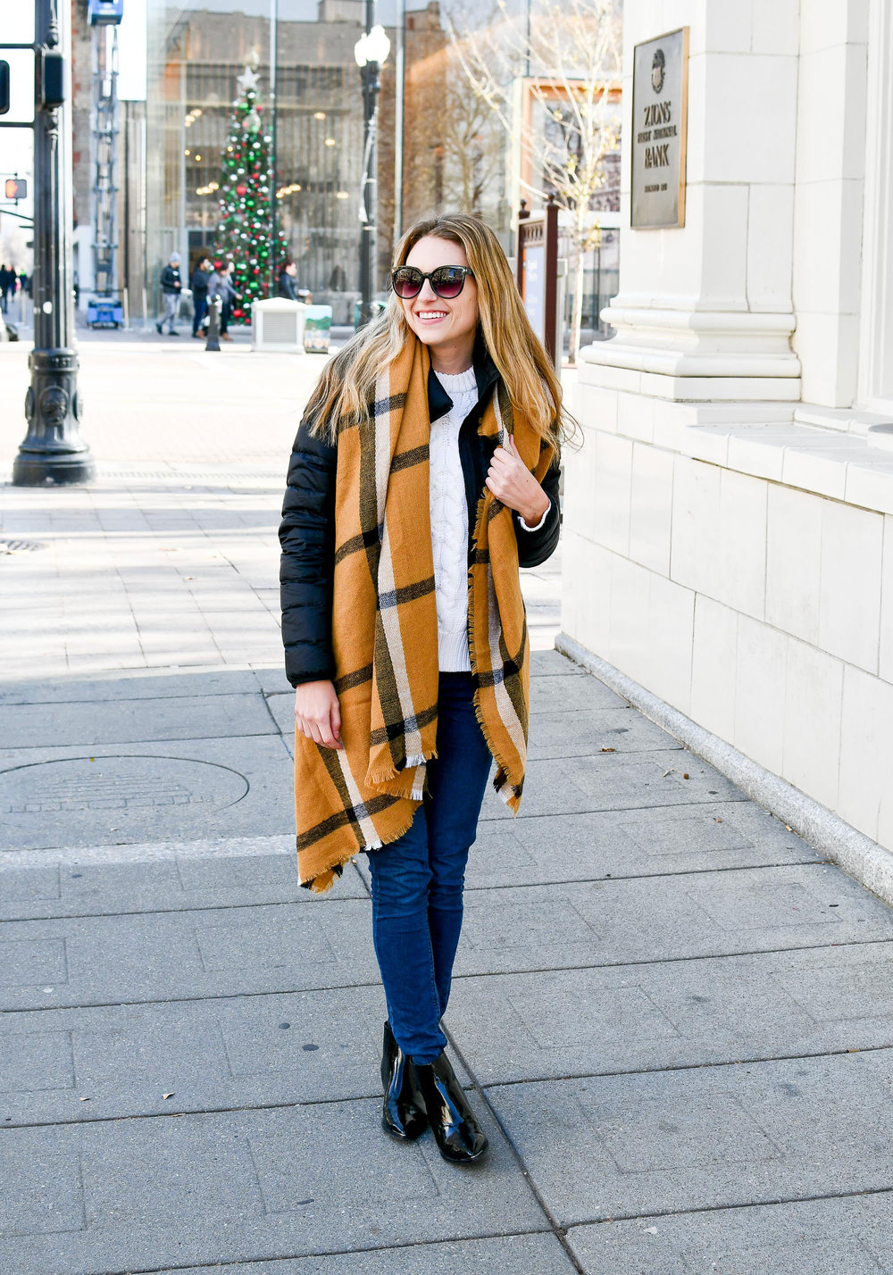 Blanket scarf outfit with patent leather boots — Cotton Cashmere Cat Hair