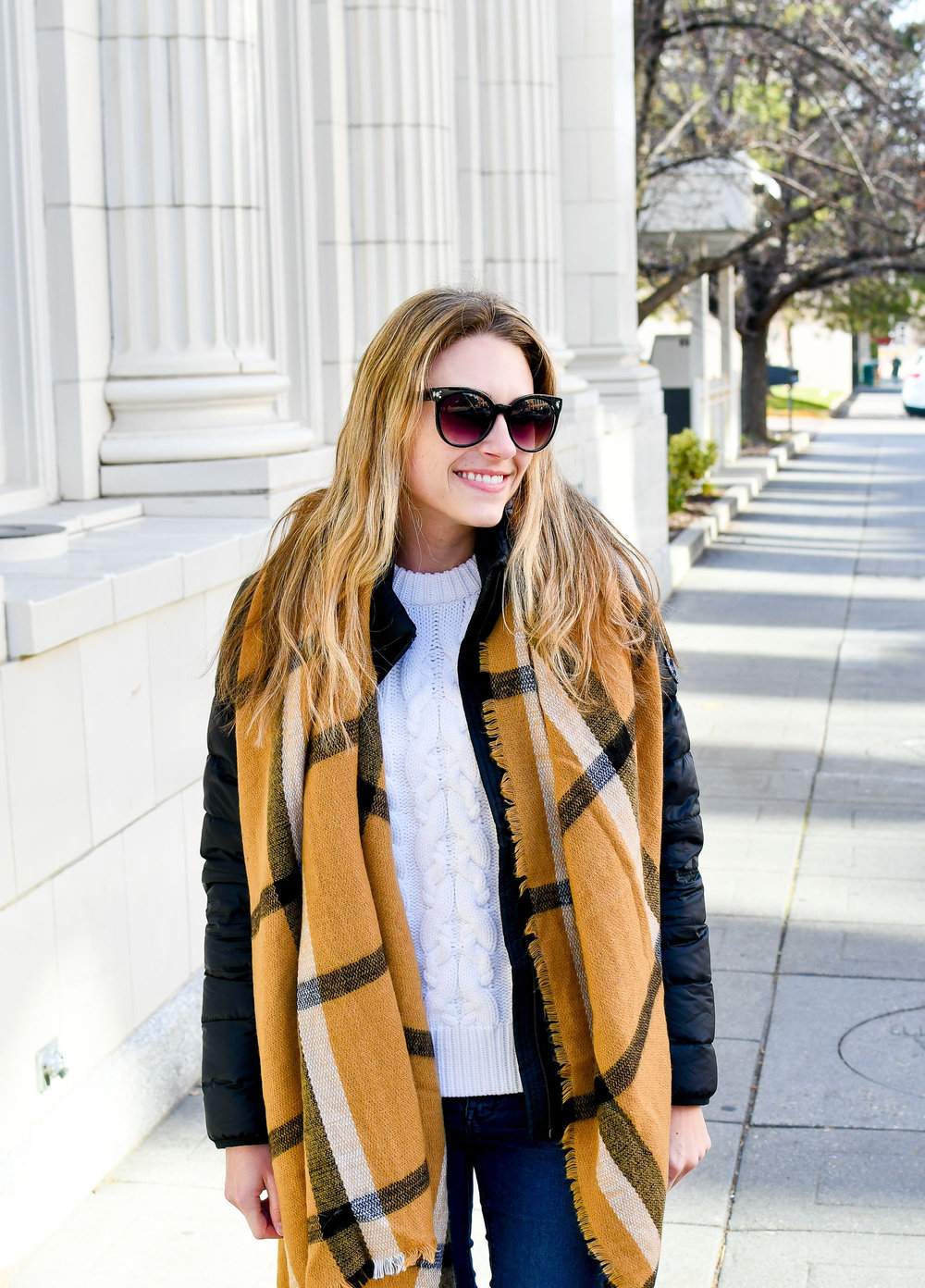 Blanket scarf and cable knit sweater — Cotton Cashmere Cat Hair