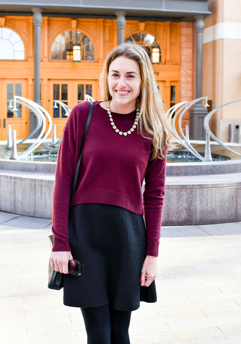 Holiday outfit with cropped sweater and statement necklace — Cotton Cashmere Cat Hair