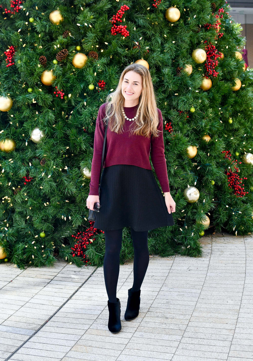 Velvet ankle boots holiday outfit — Cotton Cashmere Cat Hair
