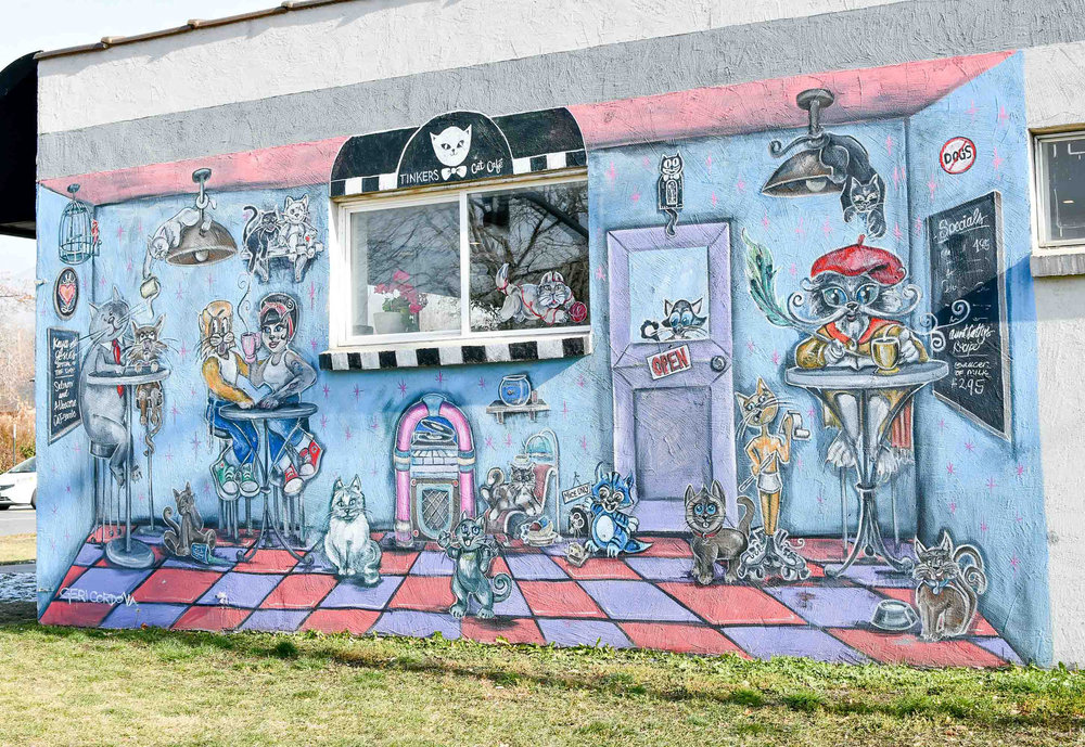 Tinker's Cat Cafe mural by Geri Cordova — Cotton Cashmere Cat Hair