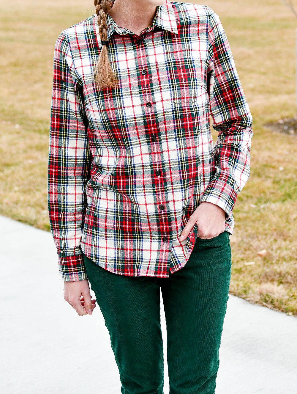 LLBean scotch plaid flannel shirt outfit — Cotton Cashmere Cat Hair