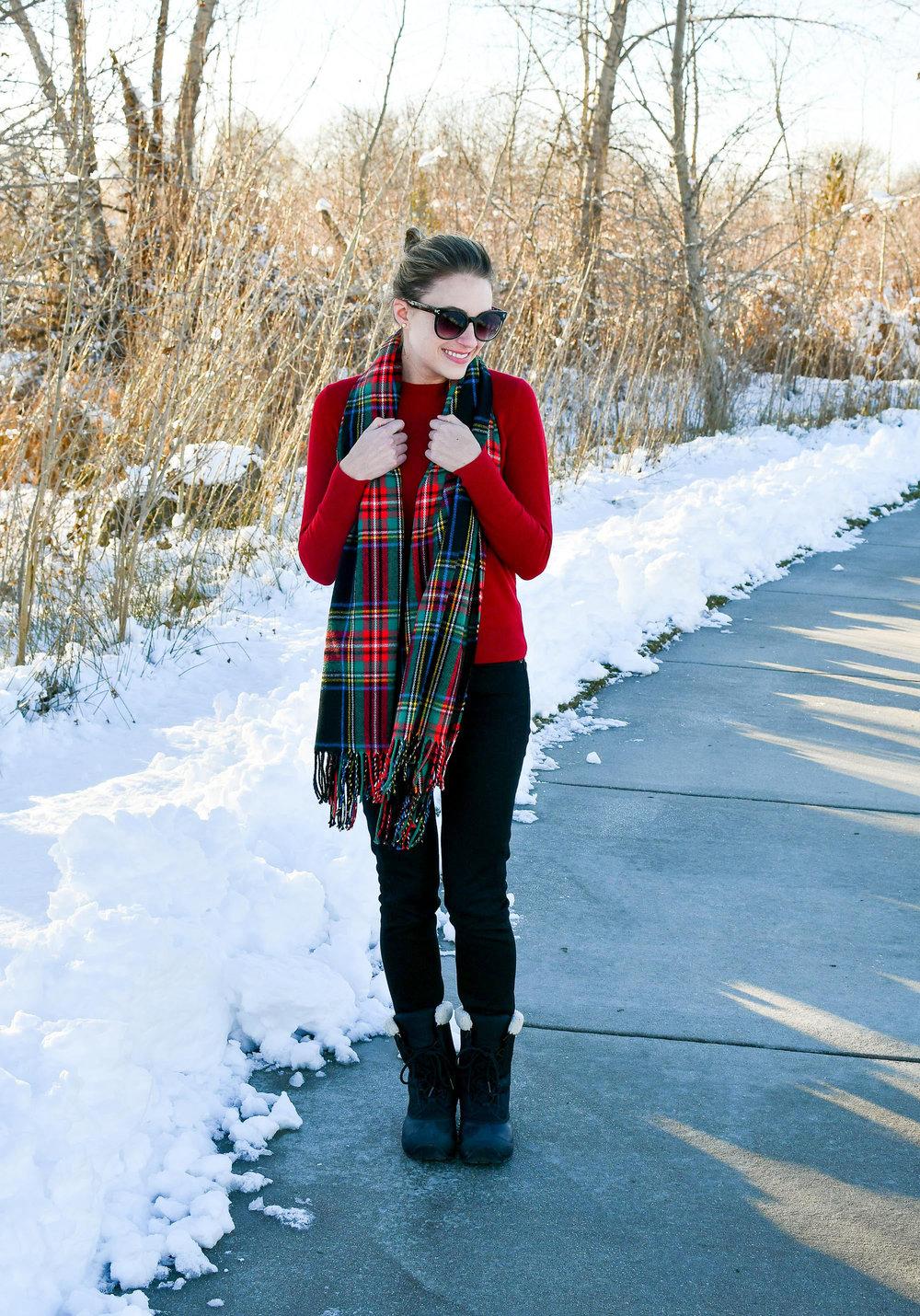 Black tartan scarf, red sweater, black jeans — Cotton Cashmere Cat Hair