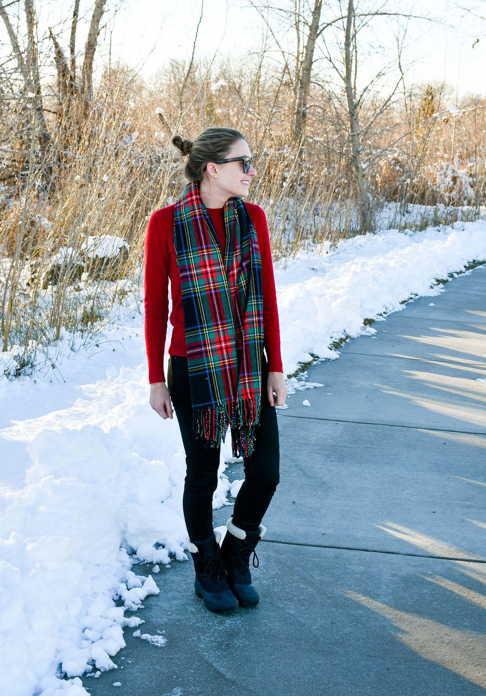 Winter outfit with black tartan blanket scarf — Cotton Cashmere Cat Hair