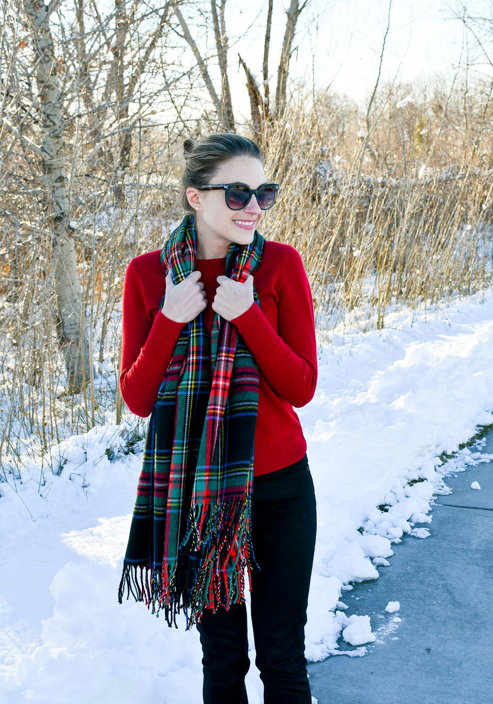 Tartan scarf outfit with red cashmere sweater — Cotton Cashmere Cat Hair