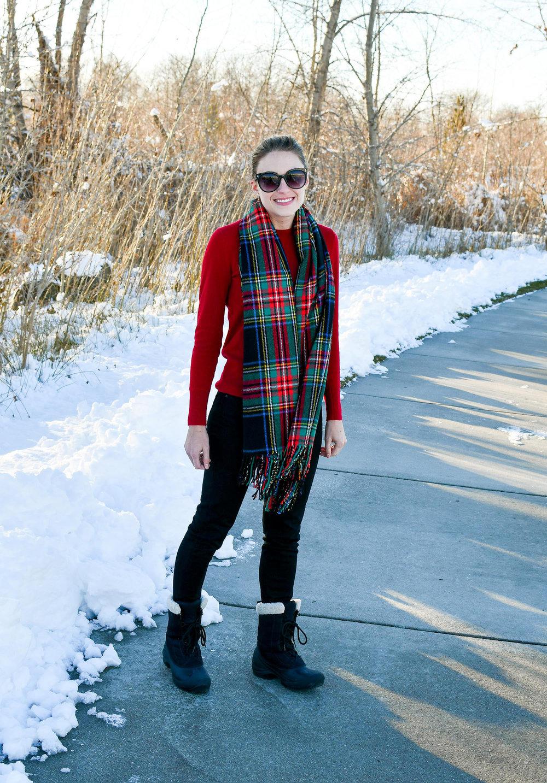 How to wear a dark tartan blanket scarf — Cotton Cashmere Cat Hair