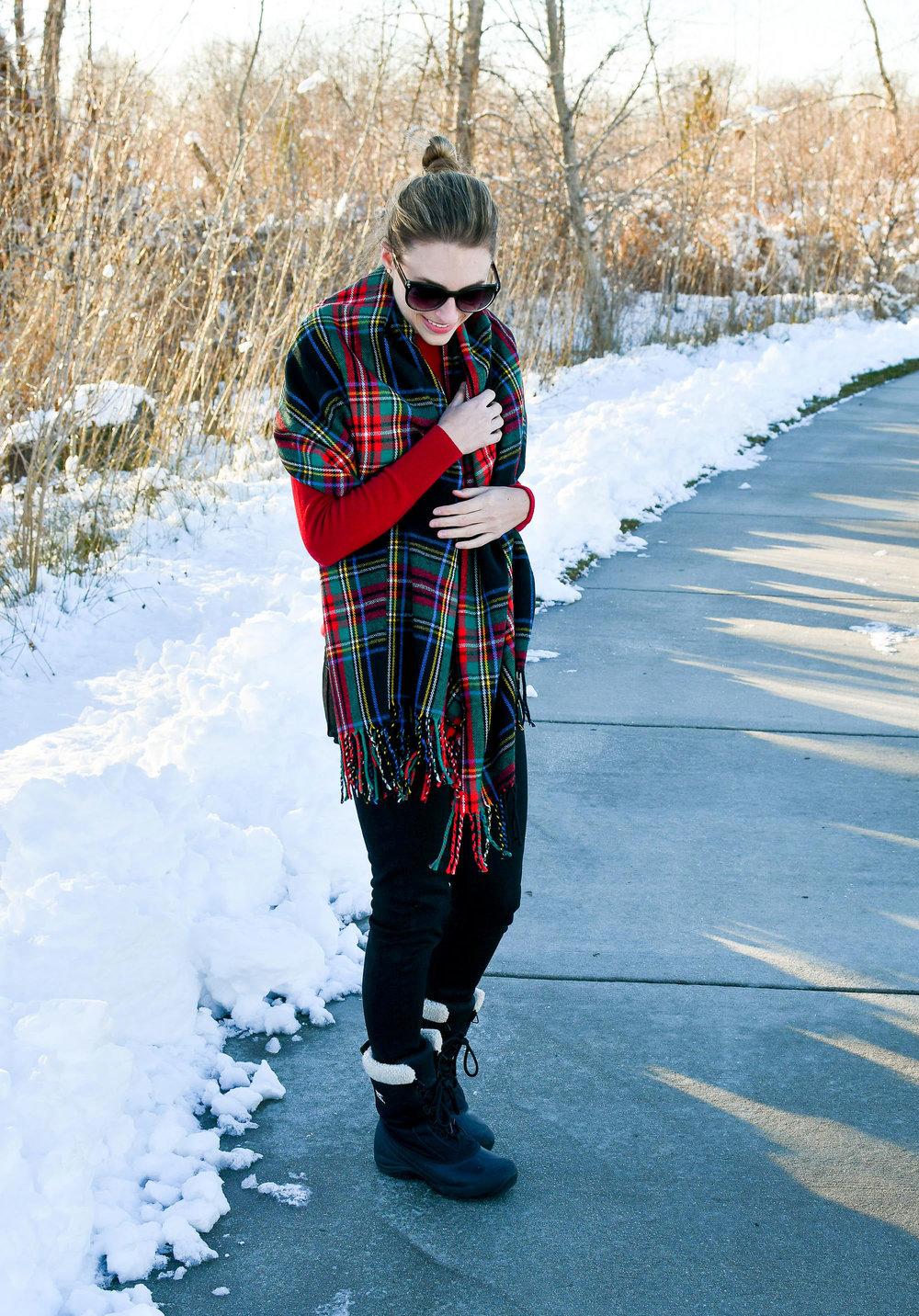 J.Crew Factory plaid blanket scarf outfit — Cotton Cashmere Cat Hair