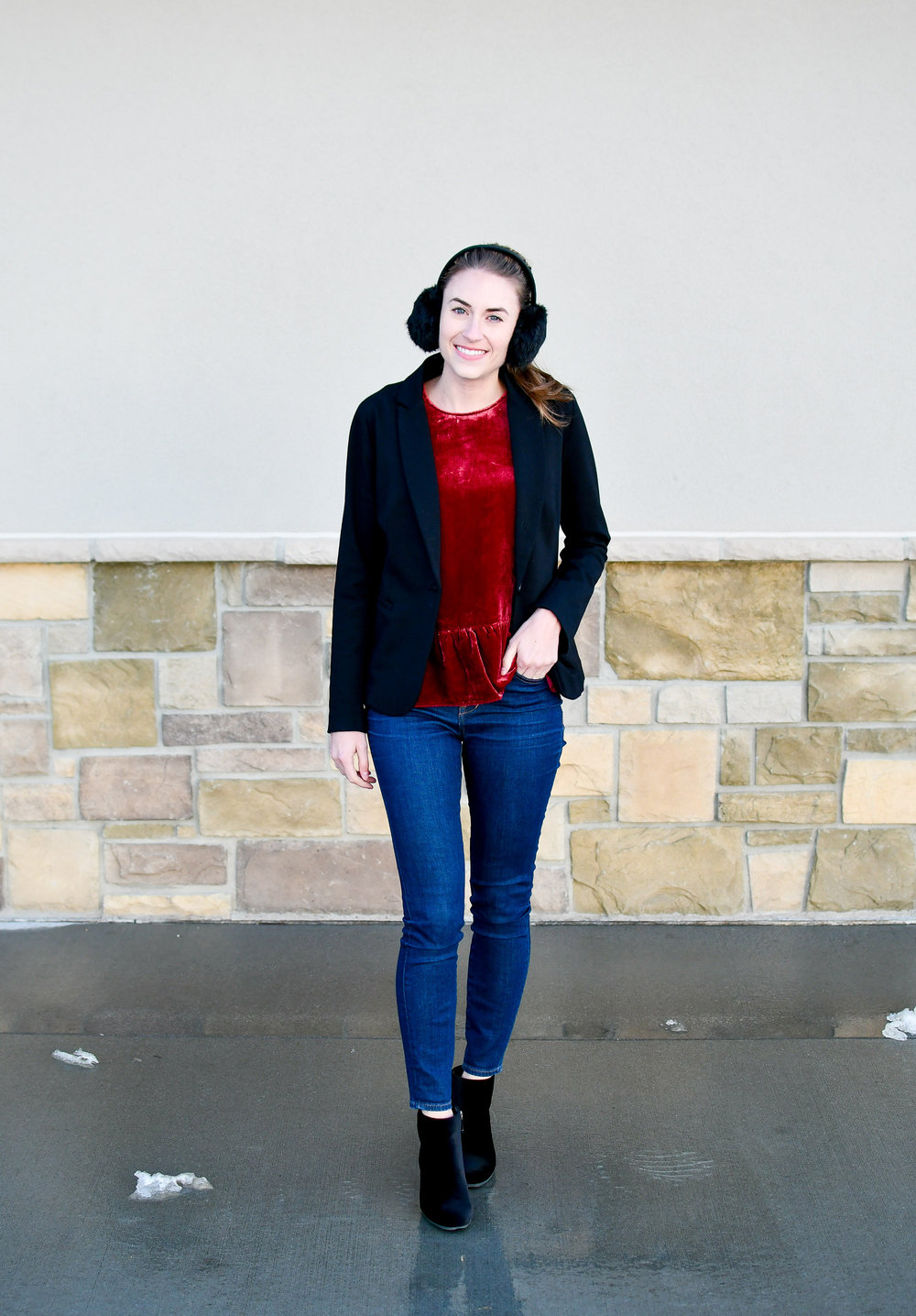 Work outfit with blazer, velvet top, velvet boots — Cotton Cashmere Cat Hair