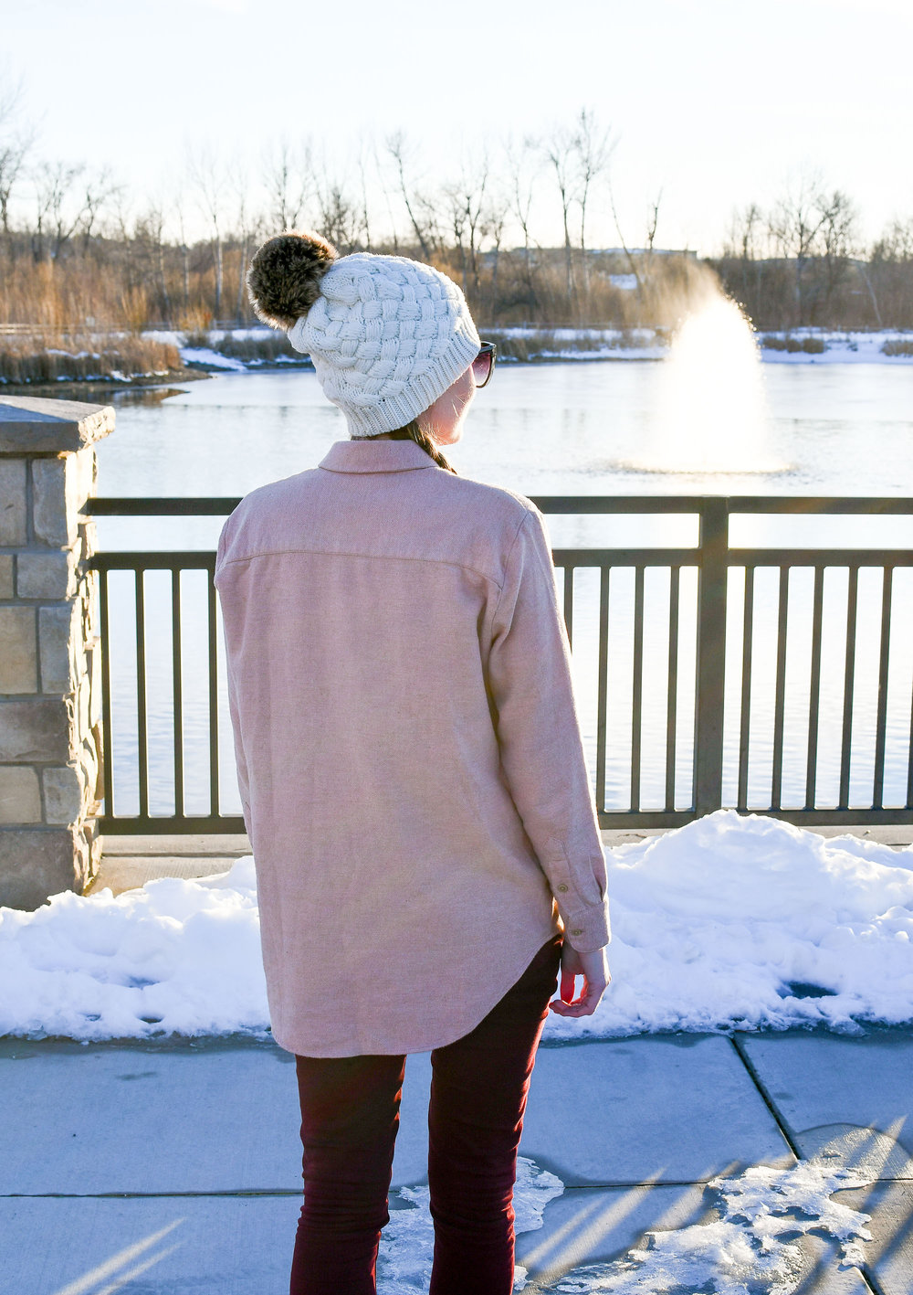 Winter outfit with faux fur pompom beanie — Cotton Cashmere Cat Hair