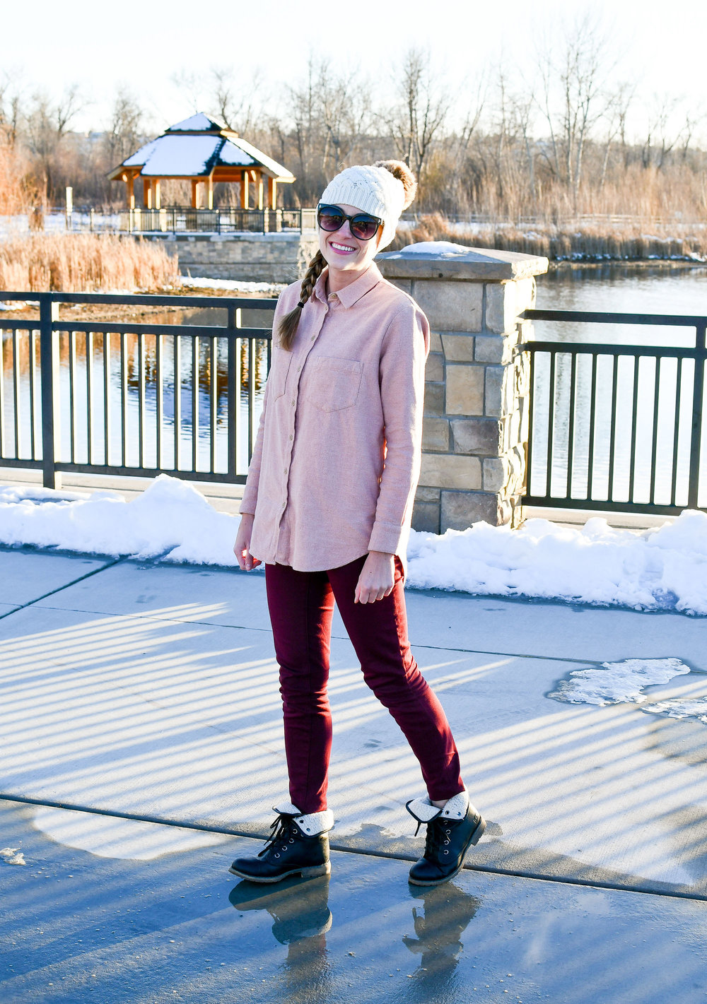 Winter outfit with pink flannel shirt and burgundy pants — Cotton Cashmere Cat Hair