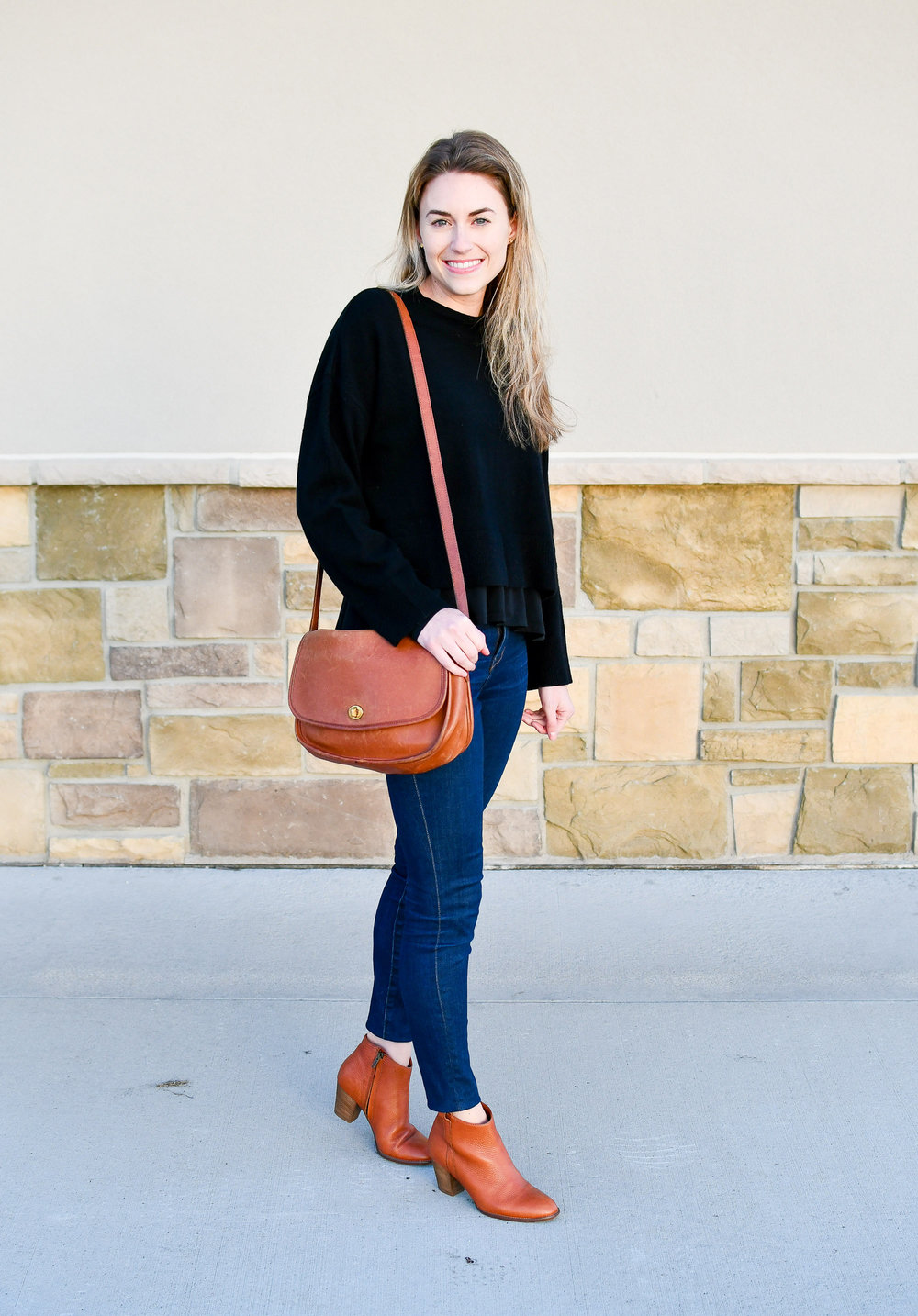 Black and cognac winter outfit — Cotton Cashmere Cat Hair