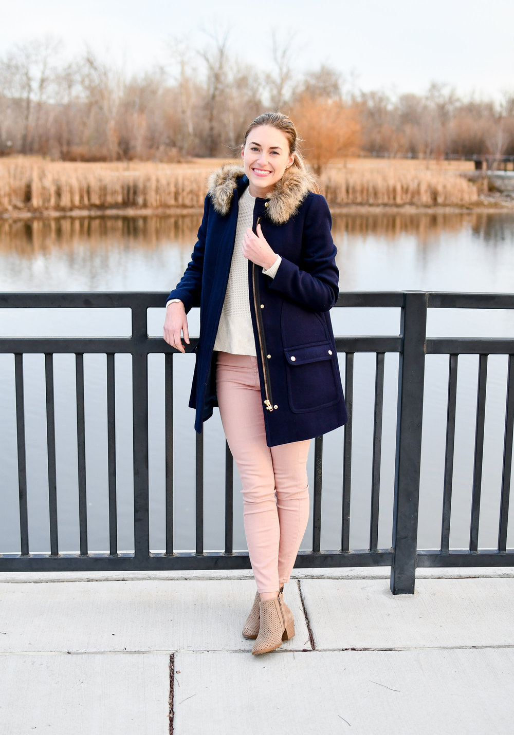 Winter outfit with navy coat — Cotton Cashmere Cat Hair