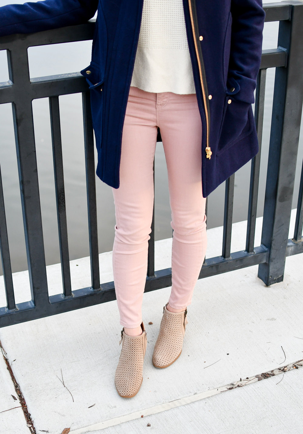 Winter outfit with pink jeans and tan ankle boots — Cotton Cashmere Cat Hair