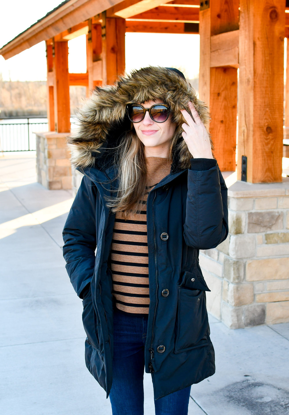 Winter outfit with black parka — Cotton Cashmere Cat Hair