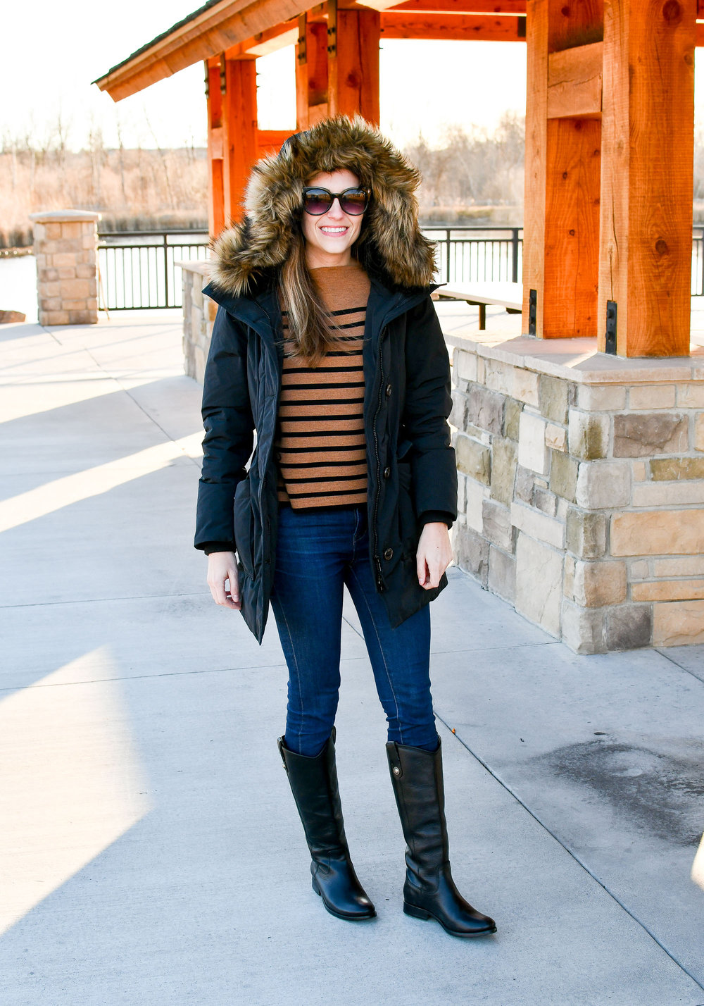 Frye Melissa Button boots outfit with striped sweater — Cotton Cashmere Cat Hair