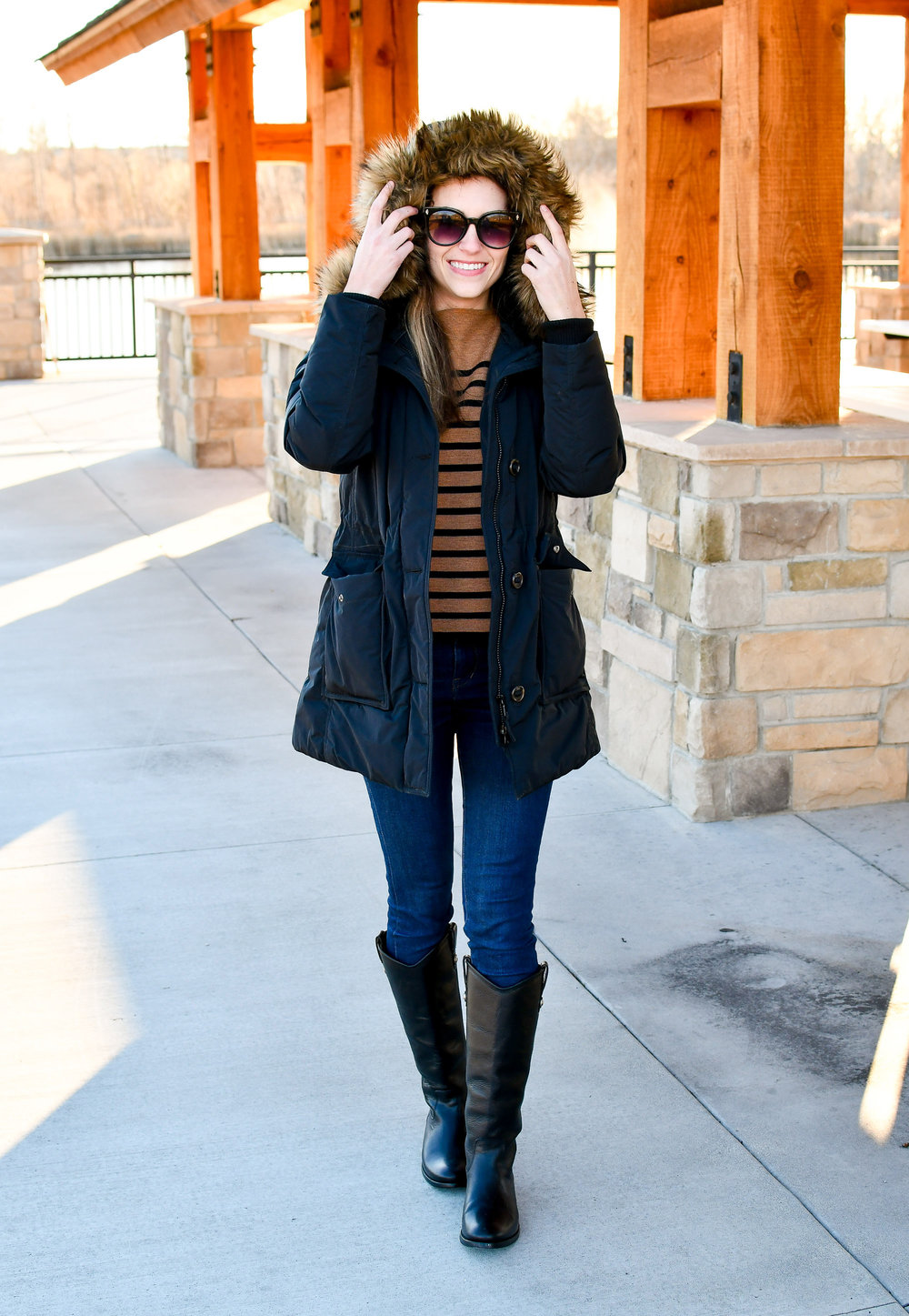 Winter outfit with parka and Frye boots — Cotton Cashmere Cat Hair