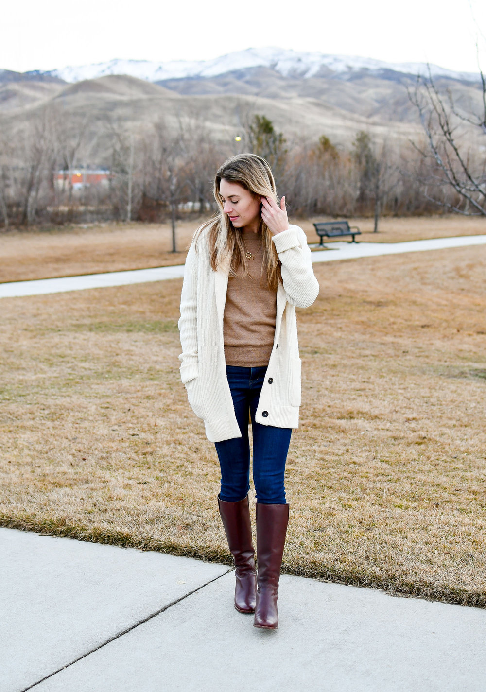 Winter outfit with brown tall riding boots — Cotton Cashmere Cat Hair
