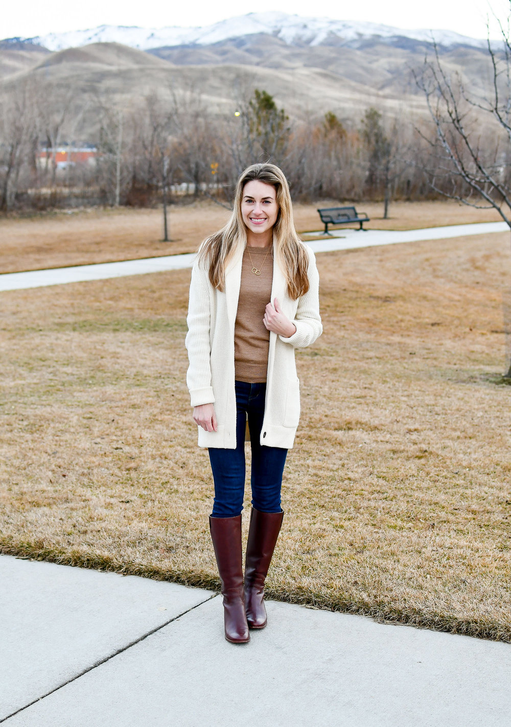 Ivory cardigan outfit with camel sweater — Cotton Cashmere Cat Hair