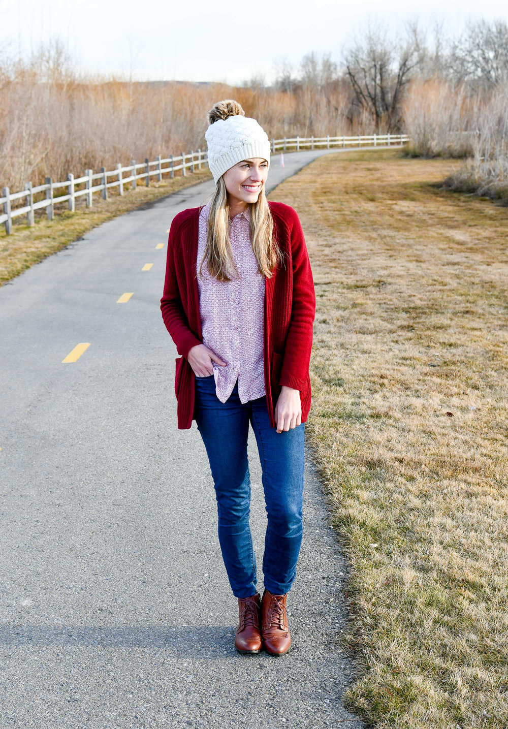 Winter cardigan with burgundy cardigan — Cotton Cashmere Cat Hair
