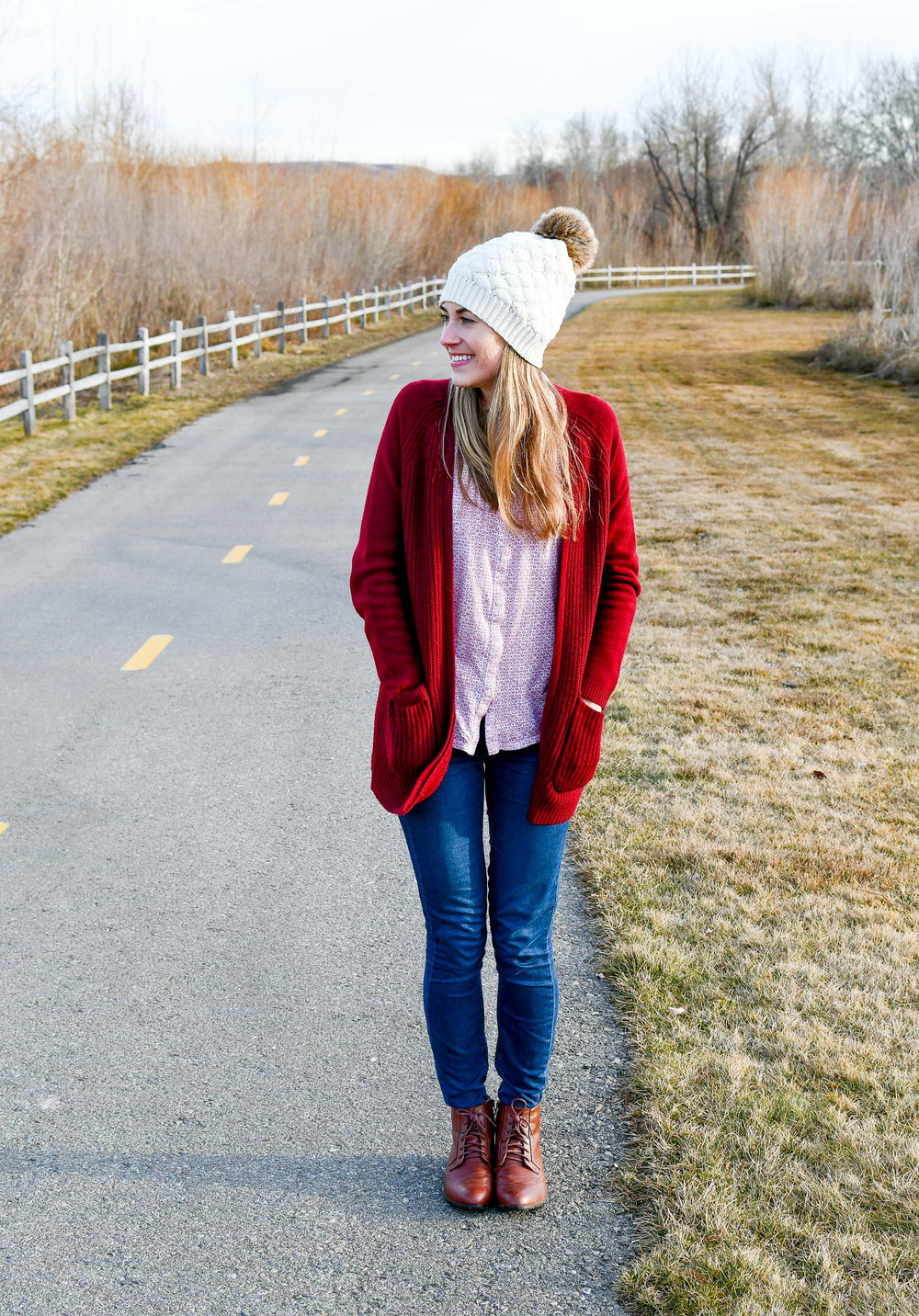 Ivory pompom beanie winter outfit — Cotton Cashmere Cat Hair
