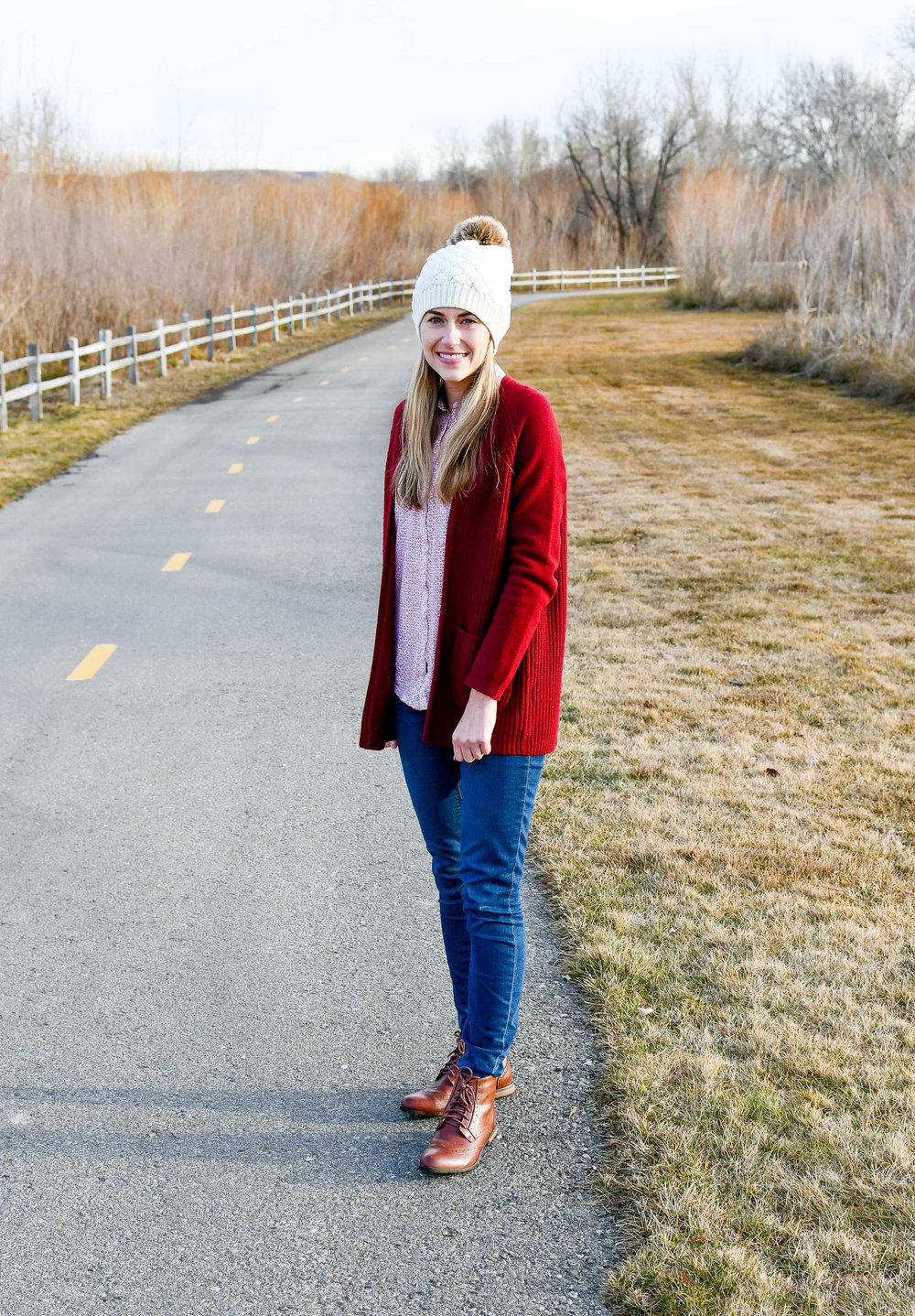 Burgundy cardigan outfit with lace-up boots — Cotton Cashmere Cat Hair