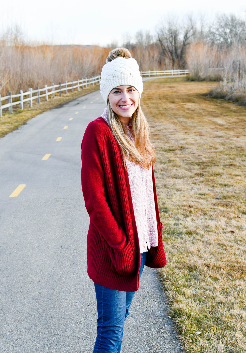 Burgundy cardigan outfit with ivory beanie — Cotton Cashmere Cat Hair