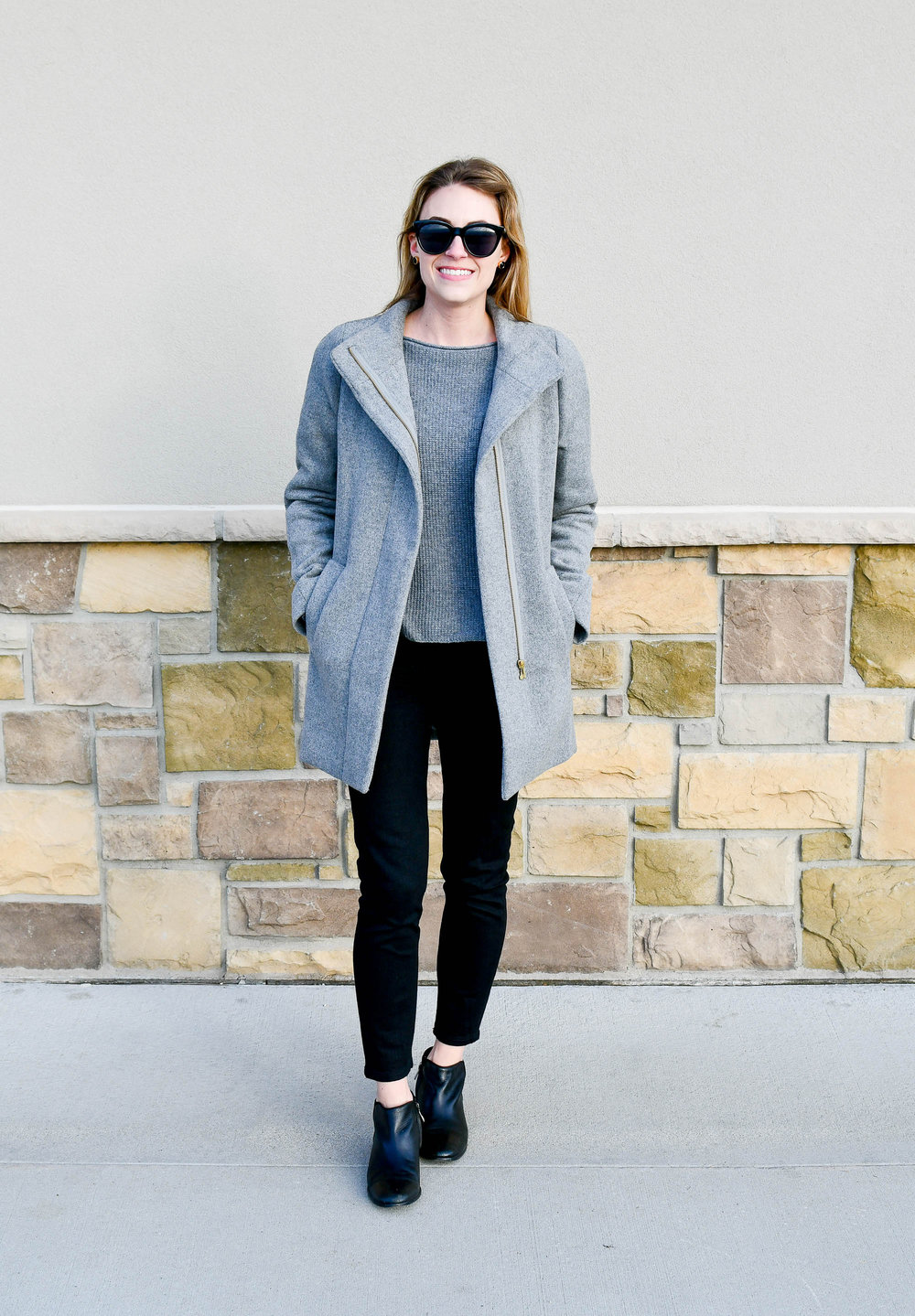 Grey coat winter outfit with black jeans — Cotton Cashmere Cat Hair