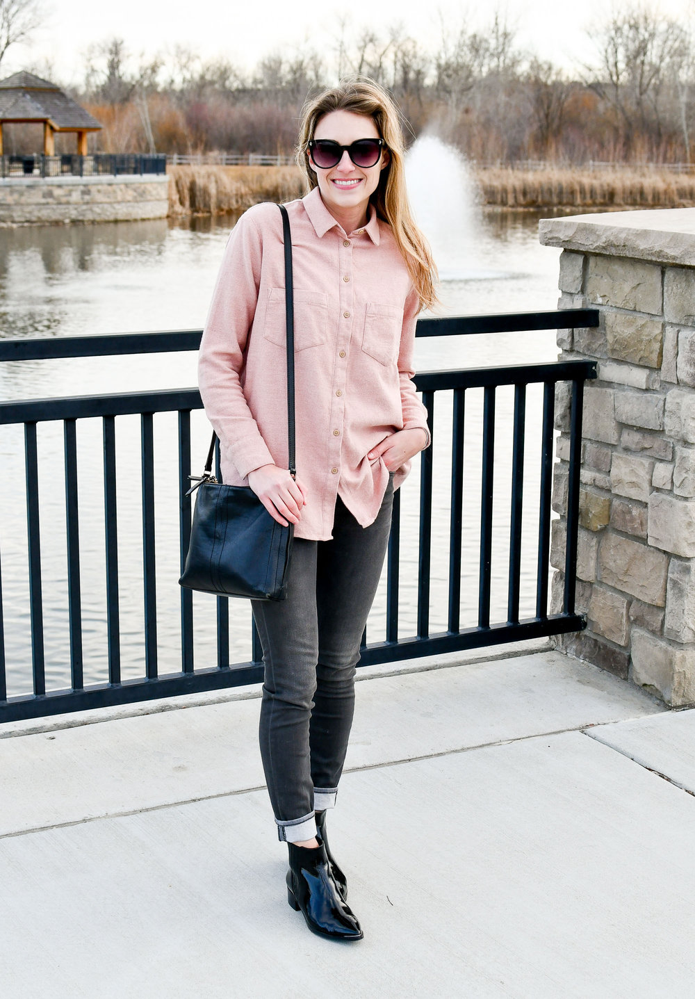 Blush pink flannel shirt with grey skinny jeans — Cotton Cashmere Cat Hair