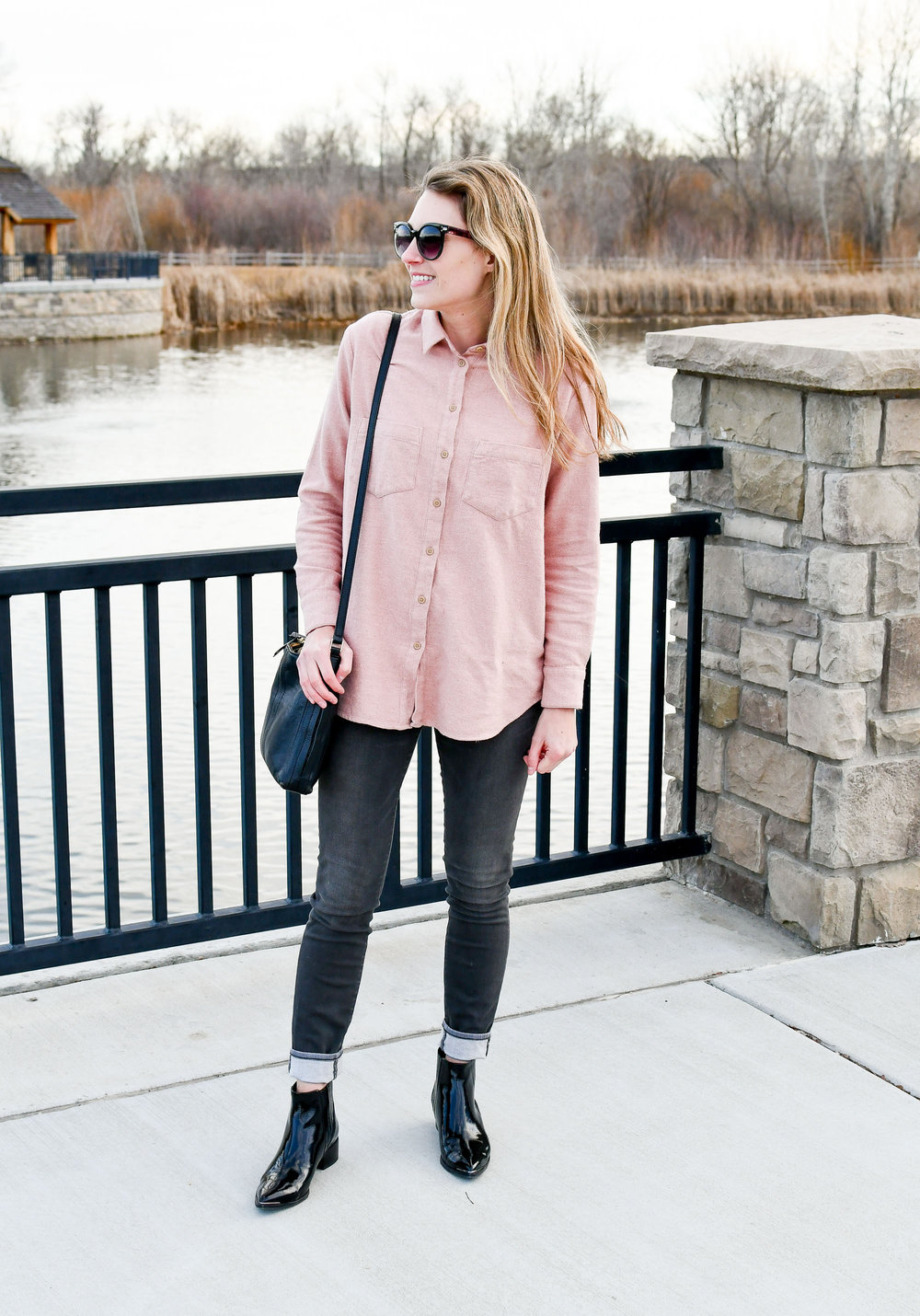 Winter outfit with blush pink shirt and cuffed grey skinny jeans — Cotton Cashmere Cat Hair