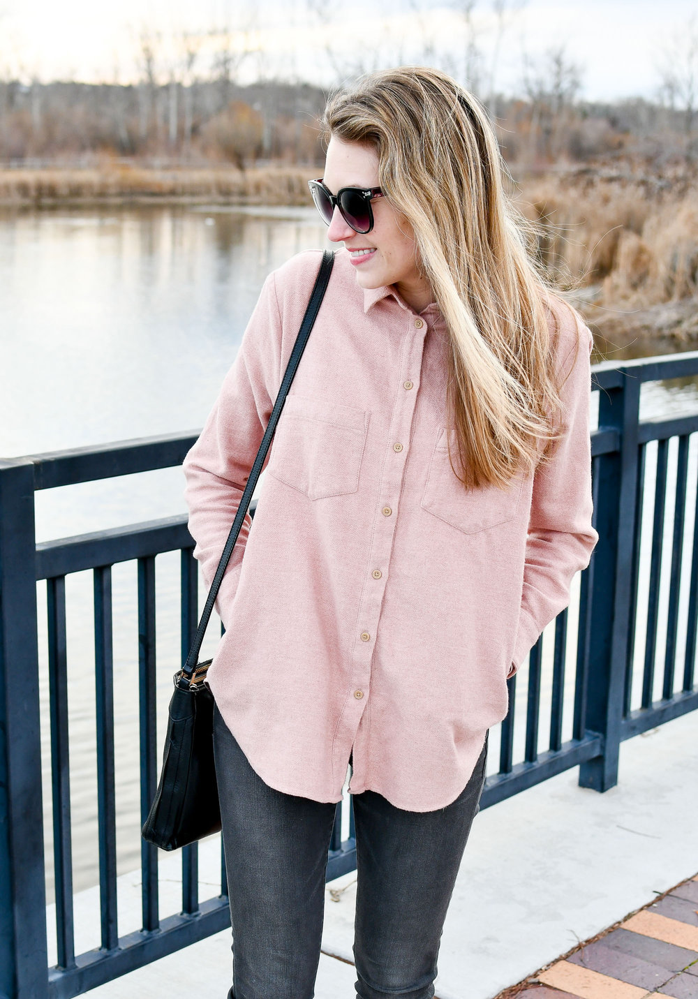 Madewell pink flannel Sunday shirt — Cotton Cashmere Cat Hair
