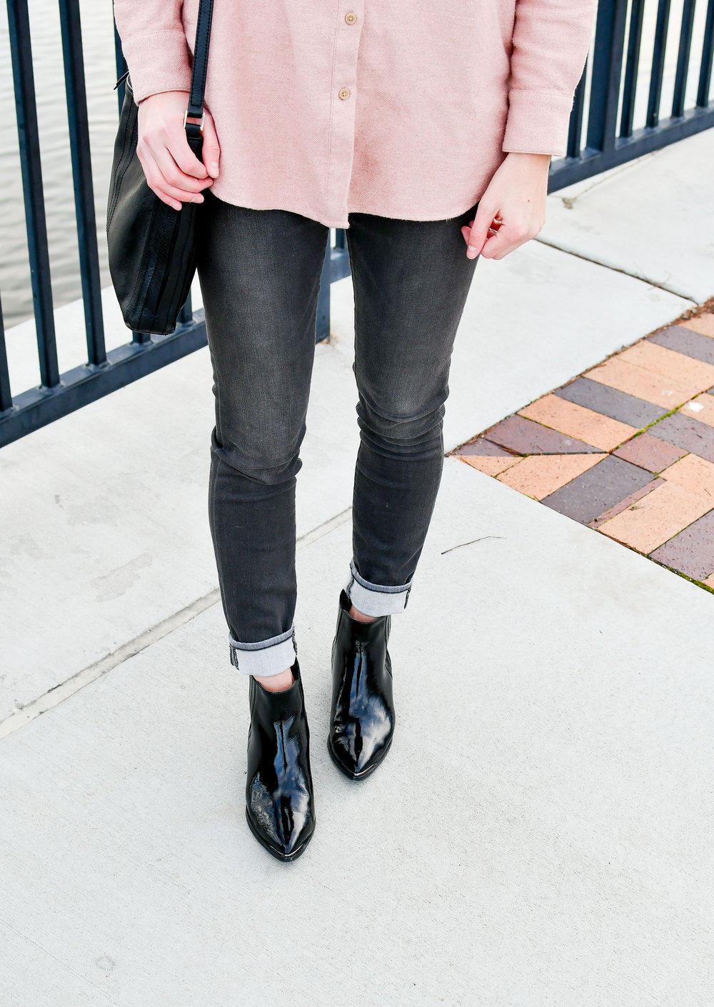 Marc Fisher Yommi patent chelsea boots with grey skinny jeans — Cotton Cashmere Cat Hair