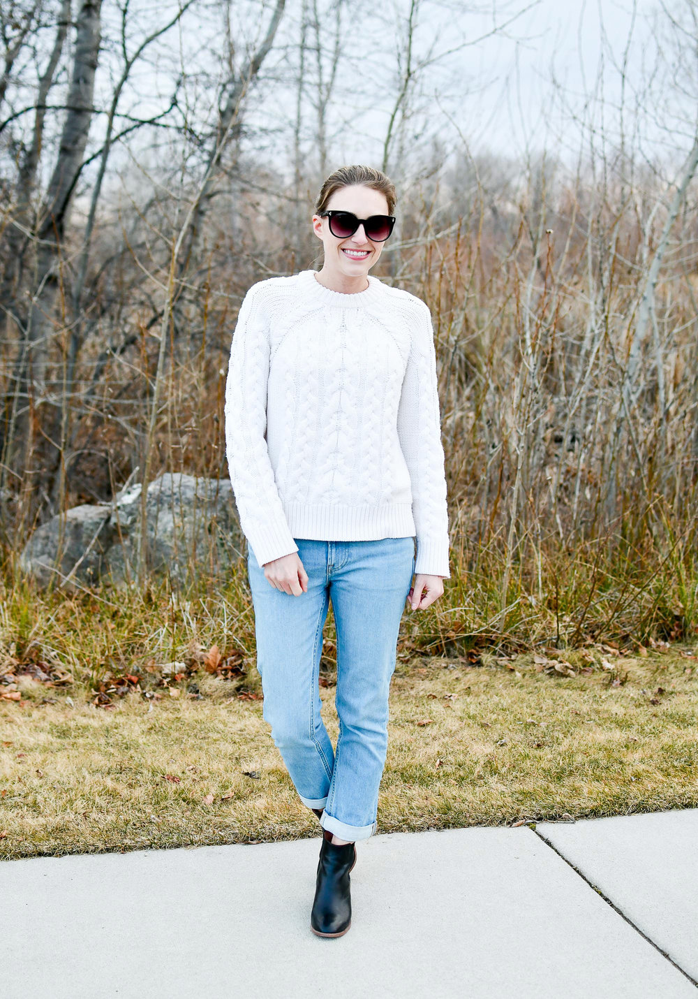 Winter outfit with cable knit sweater — Cotton Cashmere Cat Hair