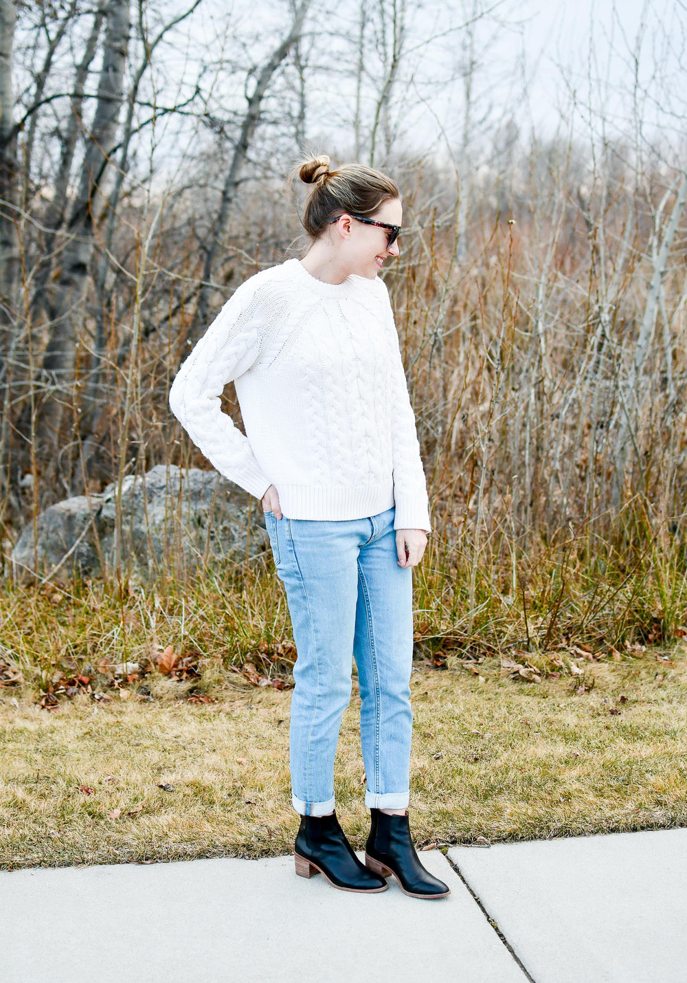 Light wash boyfriend jeans with black ankle boots — Cotton Cashmere Cat Hair