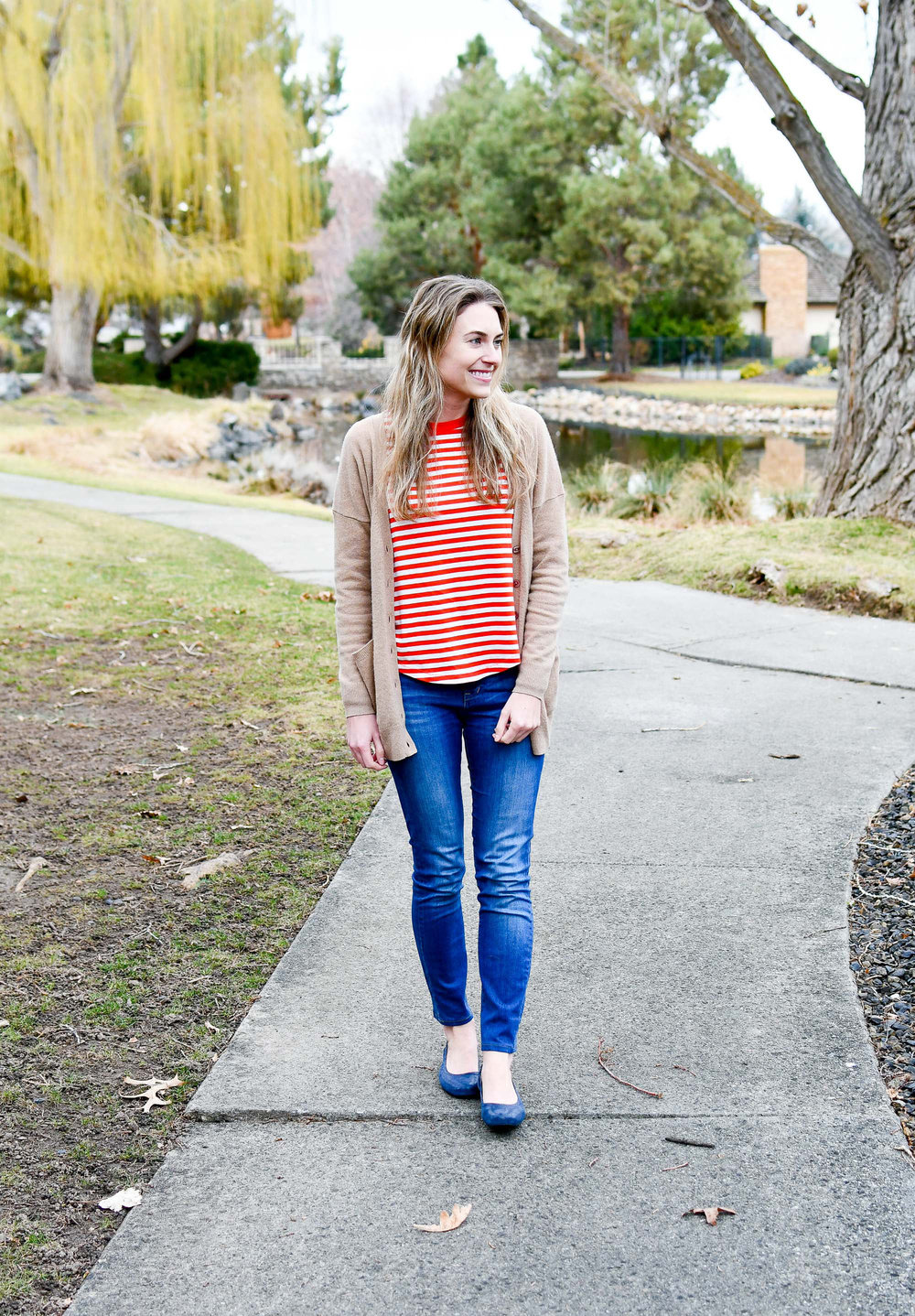 Winter outfit with red striped tee and navy flats — Cotton Cashmere Cat Hair